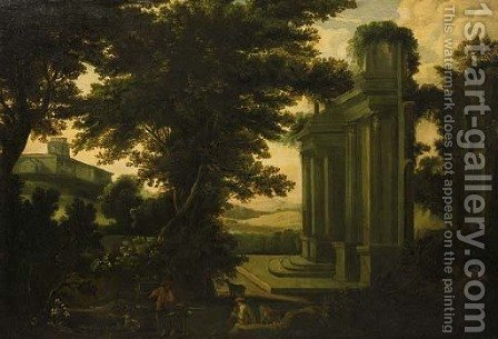 Shepherds by a classical ruin in an Italianate landscape by (after) Jakob Philippe Hackert - Reproduction Oil Painting