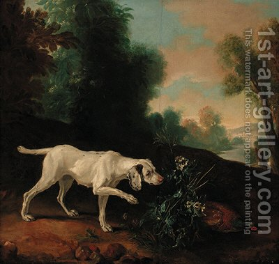 A pointer with a pheasant in a landscape by (after) Jean-Baptiste Oudry - Reproduction Oil Painting