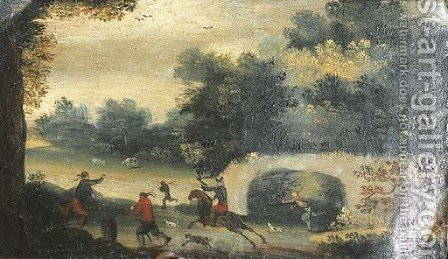 A landscape with a hawking party by (after) Abel Grimmer - Reproduction Oil Painting