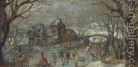A winter townscape with skaters on a frozen lake by (after) Abel Grimmer - Reproduction Oil Painting