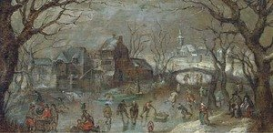 A winter townscape with skaters on a frozen lake