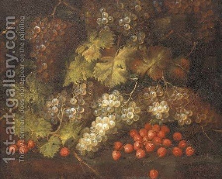 Cherries and grapes on the vine by (after) Abraham Brueghel - Reproduction Oil Painting