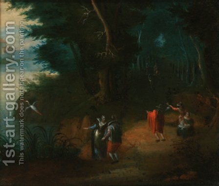 A wooded river landscape with elegant figures on a path by (after) Abraham Goaverts - Reproduction Oil Painting