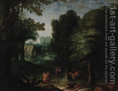 A wooded Landscape with Peasants feasting in a Clearing by (after) Abraham Govaerts - Reproduction Oil Painting