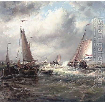 A stiff breeze at the harbour mouth by (after) Abraham Snr Hulk - Reproduction Oil Painting