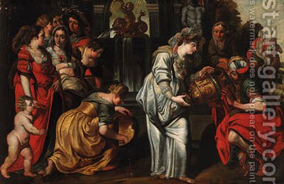 Rebecca and Eliezer at the Well by (after) Abraham Janssens Van Nuyssen - Reproduction Oil Painting