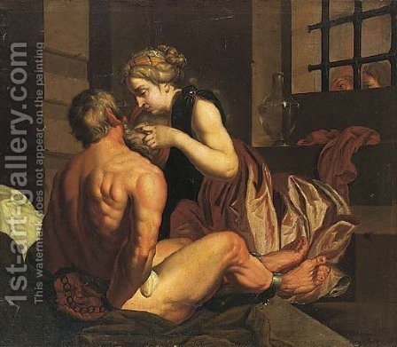 Roman Charity by (after) Abraham Janssens Van Nuyssen - Reproduction Oil Painting