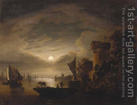 Figures with livestock on a ferry, in a moonlit river landscape by (after) Abraham Pether - Reproduction Oil Painting