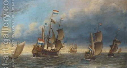 The departure of the Dutch fleet by (after) Abraham Storck - Reproduction Oil Painting