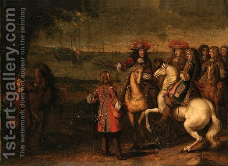 King Charles II and the Duke of York by (after) Adam Frans Van Der Meulen - Reproduction Oil Painting