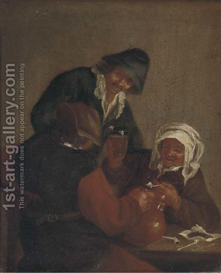 Peasants making merry in a tavern by (after) Adriaen Jansz. Van Ostade - Reproduction Oil Painting
