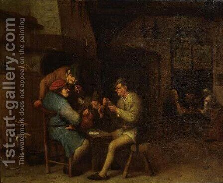 Boors playing at cards in a tavern by (after) Adriaen Jansz. Van Ostade - Reproduction Oil Painting