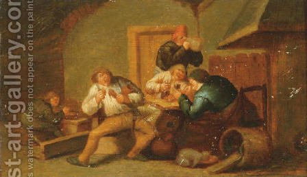 Peasants smoking and drinking by a fireplace the Sense of Taste by (after) Adriaen Jansz. Van Ostade - Reproduction Oil Painting