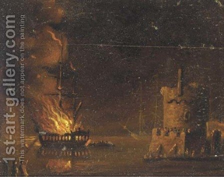 A ship on fire, by night by (after) Adriaen Lievensz Van Der Poel - Reproduction Oil Painting