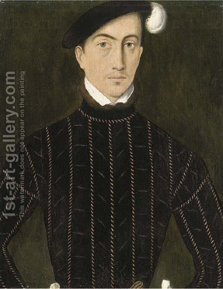 Portrait of a gentleman, half-length, in a slashed black coat and plumed black hat by (after) Adriaen Thomas Key - Reproduction Oil Painting
