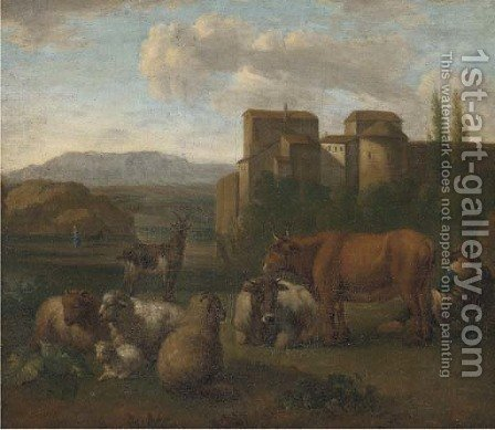 A landscape with a shepherd and his flock near a town by (after) Adriaen Van De Velde - Reproduction Oil Painting