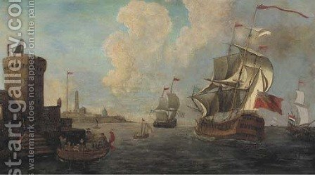 A Mediterranean coastal inlet with Dutch and British men-o'war and other shipping by (after) Adriaen Van Der Cabel - Reproduction Oil Painting