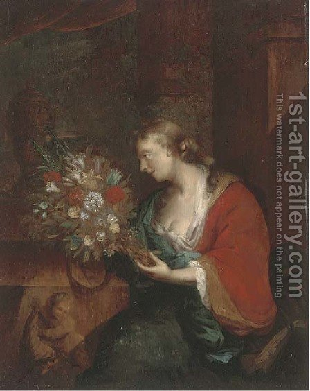 Portrait of a lady with a bunch of mixed flowers by (after) Adriaen Van Der Werff - Reproduction Oil Painting