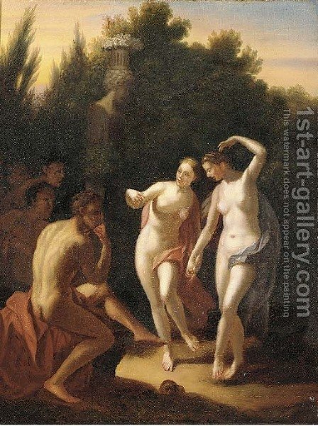 Two nymphs dancing in a garden before an audience by (after) Adriaen Van Der Werff - Reproduction Oil Painting