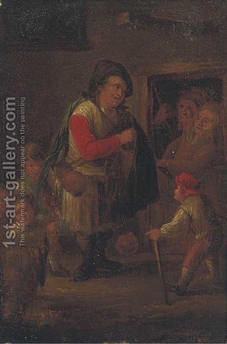 A pedlar at a cottage door by (after) Adriaen Jansz. Van Ostade - Reproduction Oil Painting