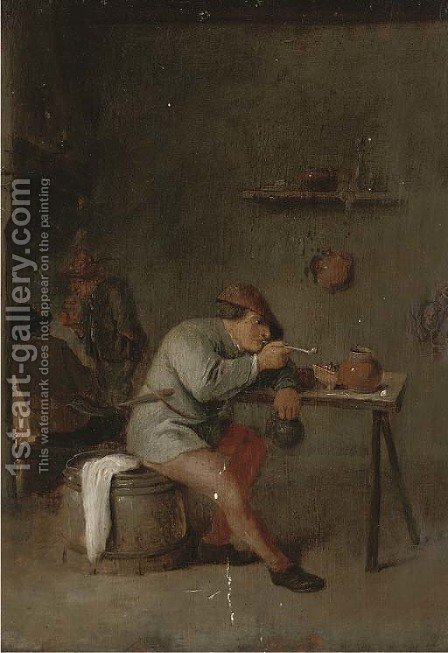 A smoking man in an interior by (after) Adriaen Jansz. Van Ostade - Reproduction Oil Painting