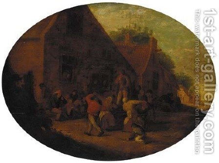 Peasants carousing in a village by (after) Adriaen Jansz. Van Ostade - Reproduction Oil Painting