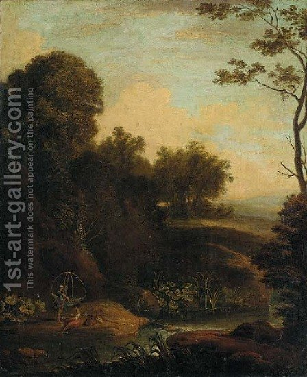 A wooded river landscape with fisherfolk in the foreground by (after) Aelbert Meyeringh - Reproduction Oil Painting