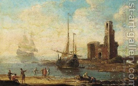 A Mediterranean coastal inlet with shipping and figures on the shore, a tower with a bridge beyond by (after) Agostino Tassi - Reproduction Oil Painting
