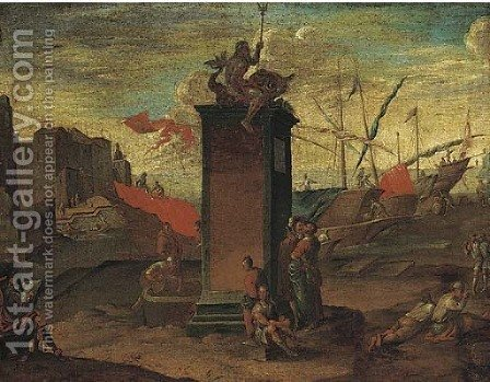 A Mediterranean harbour with a statue of Neptune being sketched by an artist, a Maltese ship moored beyond by (after) Agostino Tassi - Reproduction Oil Painting