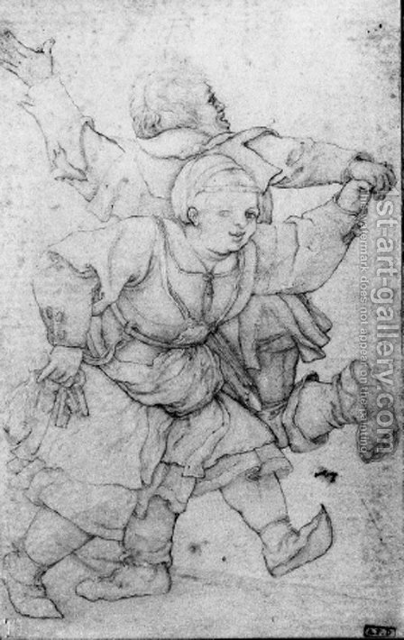 A peasant couple dancing by (after) Durer or Duerer, Albrecht - Reproduction Oil Painting