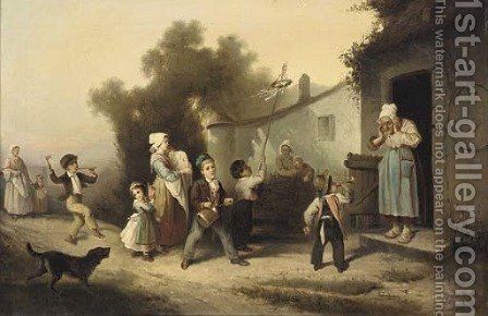 Returning from the fair by (after) Alexander Hohenlohe Burr - Reproduction Oil Painting