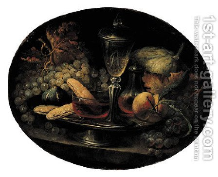Grapes, a fig, breadrolls, wineglasses and a peach on a pewter plate by (after) Alexandre-Francois Desportes - Reproduction Oil Painting