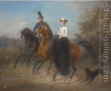 Out riding by (after) Alfred Dedreux - Reproduction Oil Painting