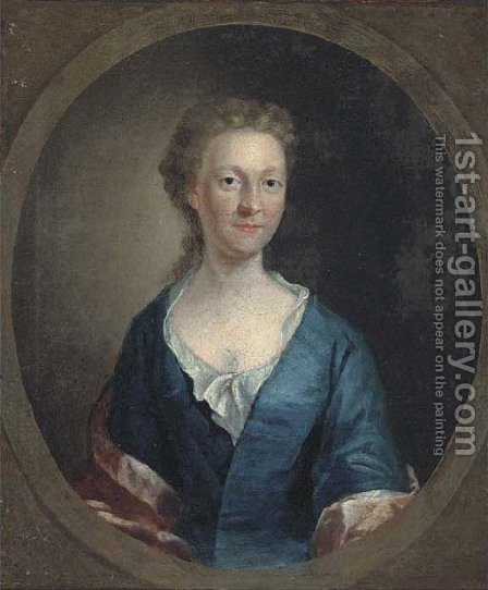 Portrait of a lady 5 by (after) Allan Ramsay - Reproduction Oil Painting