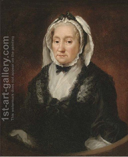 Portrait of a lady, half-length, in widow's weeds, half-feigned oval by (after) Allan Ramsay - Reproduction Oil Painting