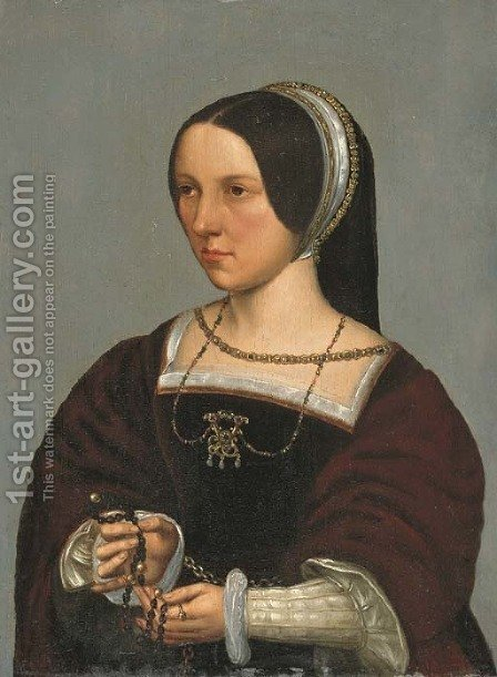 Portrait of Elisabeth Donche by (after) Ambrosius Benson - Reproduction Oil Painting