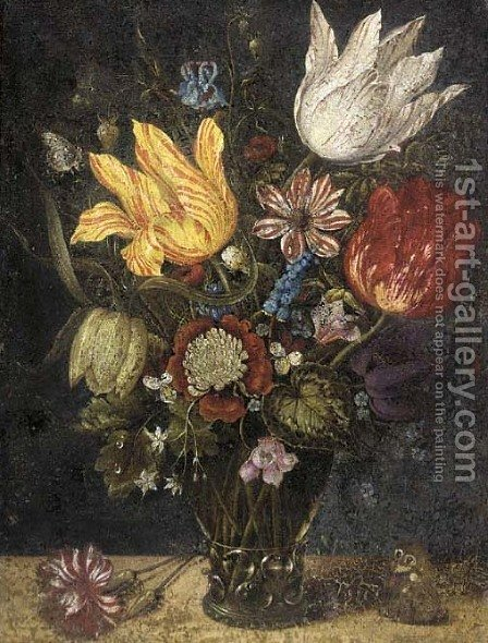 Parrot tulips and other flowers in a roemer, with a carnation and a butterfly on a ledge by (after) Ambrosius The Elder Bosschaert - Reproduction Oil Painting