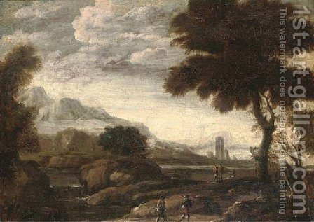 An extensive river landscape with travellers on a path by (after) Andrea Locatelli - Reproduction Oil Painting