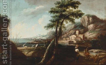 An Italianate landscape with travellers on a track, a port beyond by (after) Andrea Locatelli - Reproduction Oil Painting