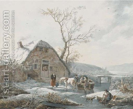 A winter landscape by (after) Andries Vermeulen - Reproduction Oil Painting