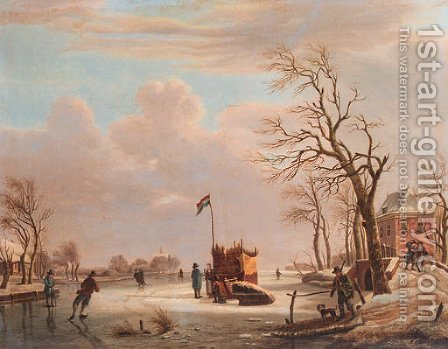 Skaters and other townsfolk on a frozen river by a country mansion by (after) Andries Vermeulen - Reproduction Oil Painting
