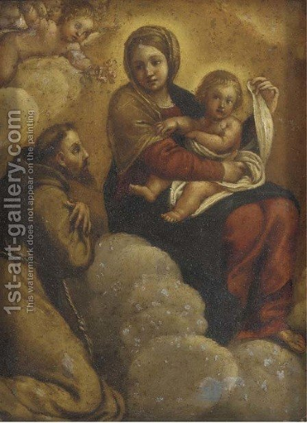 The Madonna and Child in Glory with Saint Francis of Assisi by (after) Annibale Carracci - Reproduction Oil Painting