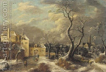 A village in winter by (after) Anthonie Beerstraten - Reproduction Oil Painting