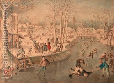 Scaters and other figures on frozen water, a village in the distance by (after) Antoni Verstralen (van Stralen) - Reproduction Oil Painting