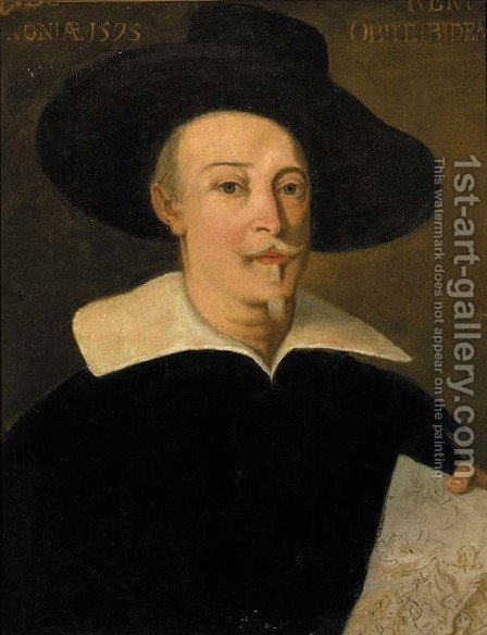 Portrait of a gentleman, half-length, wearing a hat, holding a drawing by (after) Anthonis Mor Van Dashorst - Reproduction Oil Painting