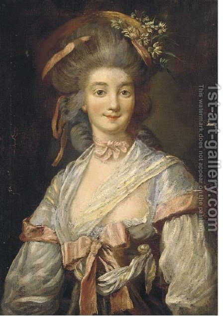 Portrait of a lady, bust-length, with flowers in her hair by (after) Pesne, Antoine - Reproduction Oil Painting