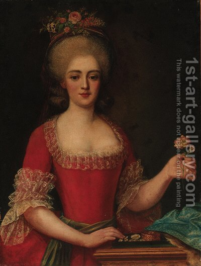 Portrait of a lady by (after) Antoine Vestier - Reproduction Oil Painting