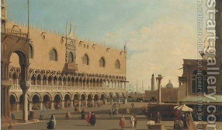 Before the Doge's Palace, Venice by (after) (Giovanni Antonio Canal) Canaletto - Reproduction Oil Painting
