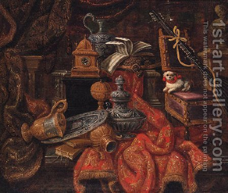 Books, a silver salver, silver-gilt ewer, clock and musical manuscript on gold embroidered drapery by (after) Antonio Rasio - Reproduction Oil Painting