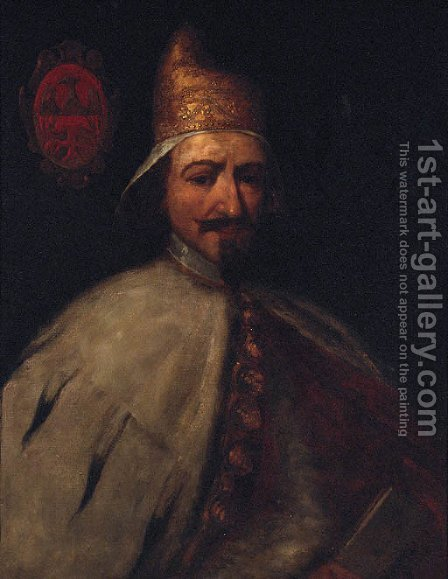 Portrait of Doge Bertuccio Valier by (after) Antonio Zanchi - Reproduction Oil Painting